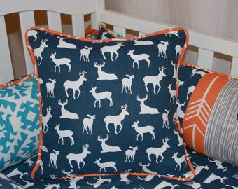 Deer Accent Pillow, Navy Pillow, Orange Pillow Shams, Deer Sham, Boy's Pillows, Boy Bedding, Pillows for Boy Bedding