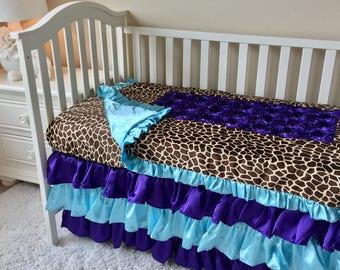 Purple Roses Toddler Bedding, Aqua Toddler Bedding Sets, Giraffe Toddler Bedding, Crib Bedding Set for Toddlers, Girl Toddler Bedding