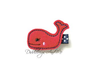 Red And Navy Whale Hair Clip, Nautical Whale Hair Clip, Beach Hair Clip, Felt Hair Clips, Summer Hair Clips, Navy And Red Whale Hair Clips