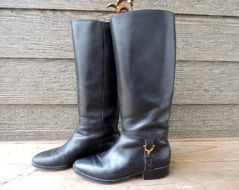 Aigner riding boots ladies black leather tall boots equestrian derby country chic 8N