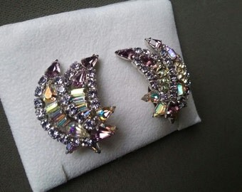Sherman Alexandrite Crystals Clip On Earrings Rare  Collectible Free Shipping To The Usa And Canada