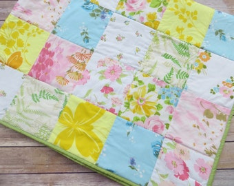 Eco Friendly Vintage Sheet Patchwork Quilt in Pretty Spring Colors