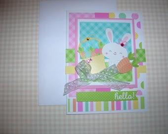 "Easter Card Handmade Spring Greeting Bunny ""hello ! """