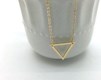 Silver or Gold Triangle Necklace, Triangle outline necklace, Geometric necklace, Dainty Layering necklace, Minimal, Everyday, Simple