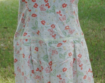 Vintage Sundress 60's Orange Butterflies and Floral on White