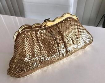 Sparkly Vintage Wighting and David Gold Mesh Clutch Bag 1950's Glamor
