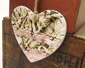 Ceramic Heart natural flower pottery lace print gift for her Love
