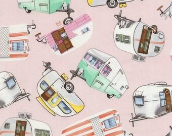 Timeless Treasures Fabric Vintage Campers Pink, yards