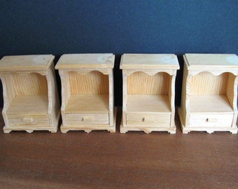Unfinished Wood Dollhouse Night Stand/End Table - Two (2) Available