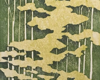 Woodblock Print Forest No. 4 Reduction Print Moku Hanga Hand-Pulled And Matted Limited Edition Block Print