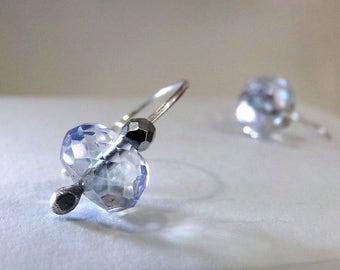 Blue Earrings, Small Blue Earrings, Sterling Silver Earrings, Blue Quartz Earrings, Silver Ear Climber Earrings,  Ear Crawler - Sparkles