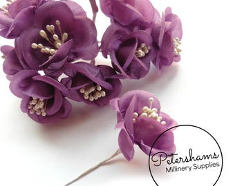 Vintage 1960's-80's Cupped Flowers with Pearl Stamens 12 Stems - Bright Plum