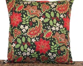 RESERVED for MARY LEE Paisley Christmas Pillow Cover Poinsettia Holly Berries Black Red Lime Green 16x16