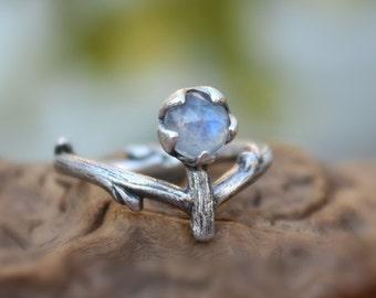 Rainbow moonstone twig ring-organic branch ring-rose cut natural gemstone-sterling silver handmade-June Birthstone-made to order.