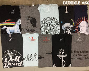 Mens Vintage T shirt Lot 10 Shirts *** Size Small *** skip n whistle kraken unicorn anchor skull shakespeare cat