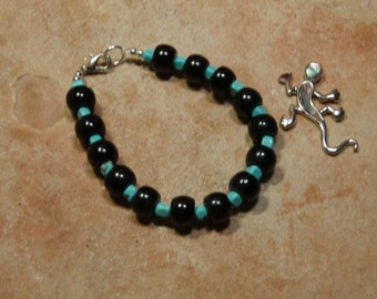 Native American Indian Natural Black Onyx and Turquoise 925 Silver Gemstone Bracelet
