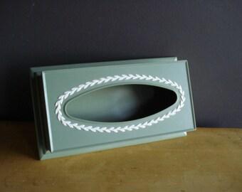 Green Wedgewood Looking Tissue Box - Retro Fesco Kleenex Box Cover - Mayfair