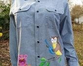 35% OFF Upcycled 70s Shirt / Chambray Shirt / Vintage Shirt / Mens Work Shirt by Sears