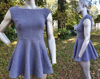 60s Dress / Vintage Costume / Houndstooth Dress / 60s Costume / Vintage Mini Dress in Navy and Cream Size
