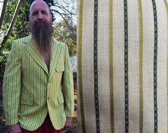 45% OFF Men 50s Jacket in Green Stripes, 50s Costume, Vintage Jacket, Green Jacket, Mens Jacket, Vintage Costume Size S-M
