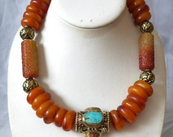 Opulent Tibetan Amber Statement Necklace, with Chinese carved stone beads, OOAK