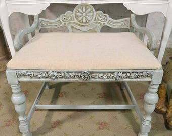 Painted Cottage Chic Shabby French Vanity Stool CHR152