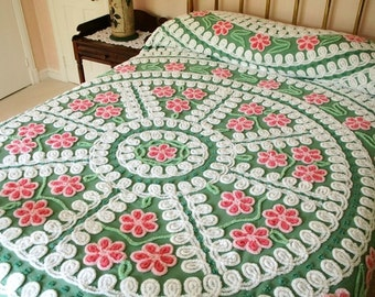Gorgeous Nile Green and Pink Plush Vintage Chenille Bedspread