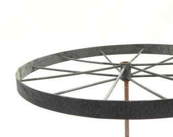 "Vintage 12 spoke Metal Wagon Wheel Industrial Lamp Part Steampunk Repurpose 19-1/4""W #2"