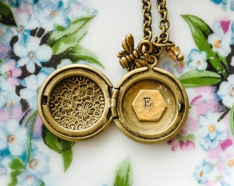 Honey Bee and Honeycomb Custom Initial Locket - Monogrammed, Personalized Locket - Antique Brass