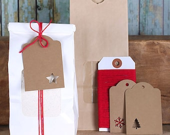 Christmas Bakery Bag Kit: Tin Tie Bags, Bakers Twine & Christmas Gift Tags, Half Pound Bags, Treat Bags, Bakery Bags, Cookie Bags (6)