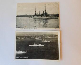 Antique 1907 Great White Fleet U.S. Navy Ship Battleship Postcards Lot RRPC Real Photo in Elliott Bay Seattle & U.S.S. Kersage