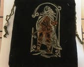 Black Corduroy Bag With Embroidered Ranger -  Tarot, Oracle, Gaming Dice