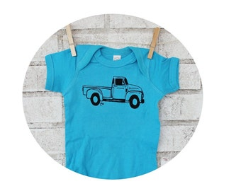 Truck Baby shirt, Pickup Truck Baby Onepiece, Baby Boy Gift, Turquoise Blue, Cotton Baby Bodysuit, Short Sleeved, Hand Screenprinted tshirt