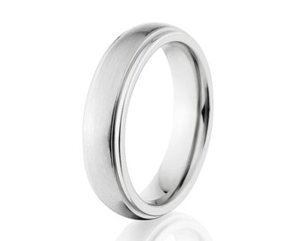 Cobalt Chrome Rings, Cobalt Wedding Bands, 5mm Cobalt Ring: CB-5HRRC-B