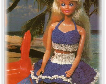 Barbie Clothes Pattern - Crochet Halter & Skirt - Fits 11.5 Fashion Doll - Pattern CR177438