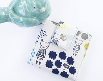 Vegan wallet,  small wallet, linen, bears, women wallet, change purse, credit card wallet, fabric wallet, Japanese fabric wallet