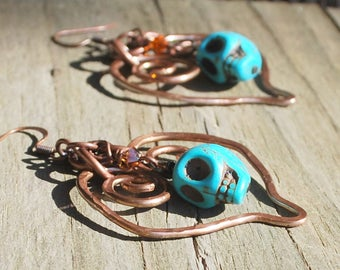 Turquoise Skull Copper Heart Earrings Wife 7th Seventh Anniversary Valentine's Day Rocker Day of the Dead Biker Birthday Gift Ready to Ship
