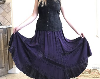 Purple Embroidered A-Line Long Skirt with Panel detail