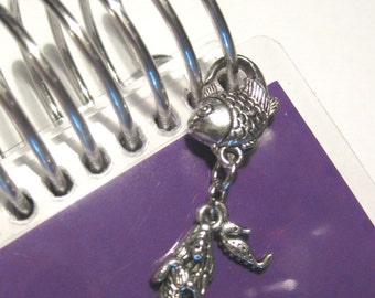 Purse or Planner charm mermaid and tiny seahorse with a fish lobster clasp tibetan silver travelers notebook TN Midori Erin Condren