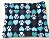 """Pet Crate Mat Bed, SALE   Pet Cushion Pad, 18"""" X 15.5"""" Small Dog Puppy or Cat Kitten Pet Gift, Paw Print, Pet Gift Idea"""