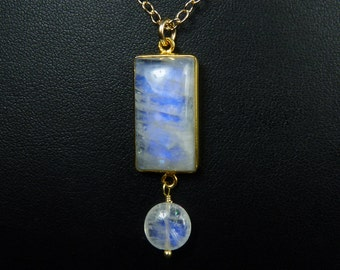 Bargain Priced Rainbow Moonstone Necklace, Bargain Priced Rainbow Moonstone Pendant, Cobalt Blue Fire and Flash, Gold Bezel and Chain