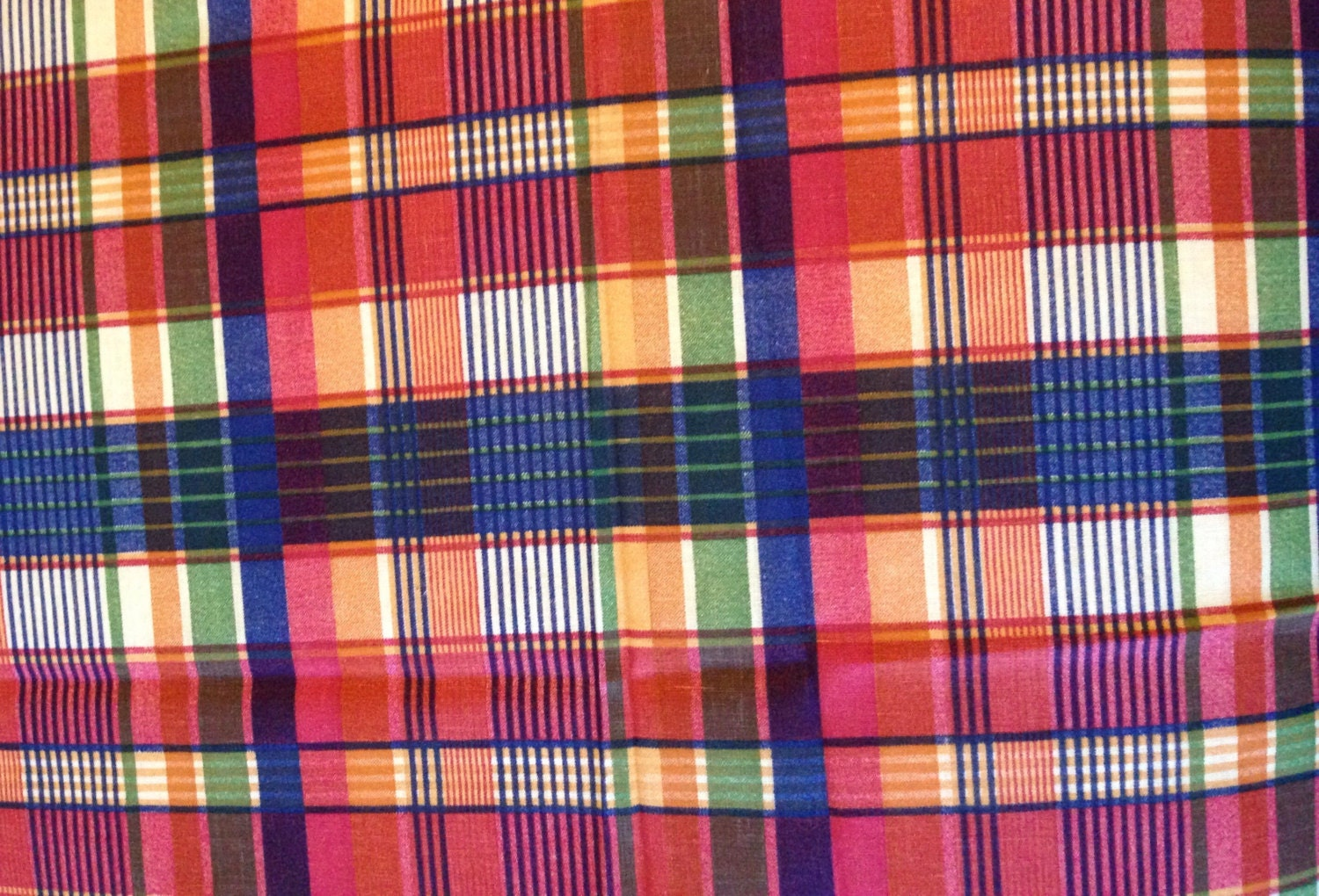 vintage printed plaid fabric orange and blue fabric by the yard from theresamarierose on. Black Bedroom Furniture Sets. Home Design Ideas