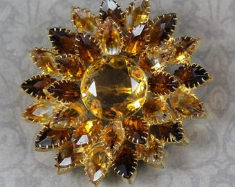 Vintage Large Gold Tone Yellow and Topaz Open Back Rhinestone Brooch