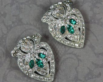 Vintage Pair of Art Deco 1920s to 1940s Green and Clear Rhinestone Silver Tone Dress Clip