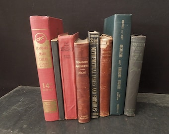 Math Arithmetic Finance Vintage Book Stack - Decorative Old Books for Decor - Gift Mathematician - Instant Collection