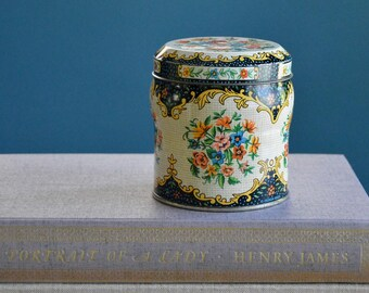 Vintage Daher Tin with Needlework Flowers Design