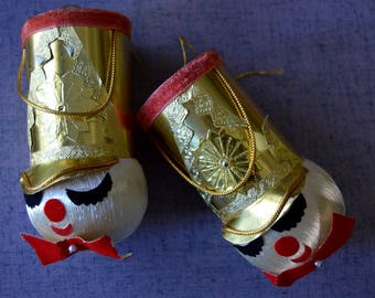 Pair of Vintage 1950s 1960s Toy Solider Christmas Ornaments