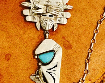 Bold Beautiful Sterling Silver Turquoise Mystical Medicine Man Kachina Vintage Native American Necklace Singed