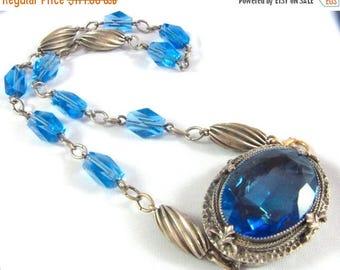 SALE CLEARNCE SALE Beautiful Art Nouveau Art Deco Blue Crystal Silver Vintage Necklace