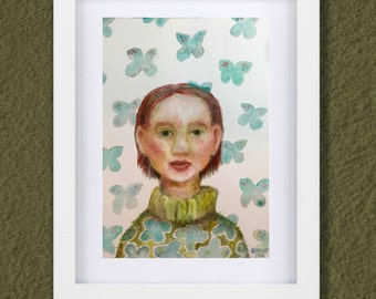 Original Watercolor - 7x10 inches - Redhead Girl Wall Butterfly - Daily painting Number 54